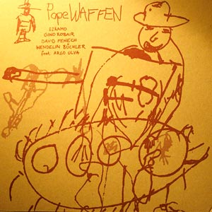 PopeWaffen is an improvisation collective including Gino Robair (percussion), Wendelin Büchler (guitar), David Fenech (guitar), Ezramo (voice) and the mysterious Argo Ulva (trumpet). Free improv recorded live in Berlin, Germany.